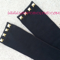 Studded Knee High Socks Black Silver OR Gold Studs