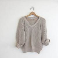 vintage cotton / ramie sweater. vneck sweater. oatmeal - off white - khaki colored