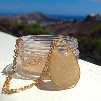 BEACH Jewelry, hawaiian jewelry, real sand from kailua beach, sand pendant, gold chain, tear drop pendant