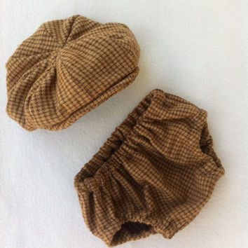 Baby Boy Diaper Cover and Newsboy Hat Great by fourtinycousins