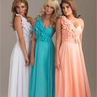 A-line One-shoulder Turquoise Floor-length With Flower Prom Dress PD1103