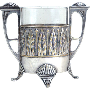 Art Nouveau Silver & Glass Vase