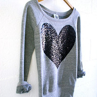 Sequin Heart Patch Sweatshirt Jumper - Heather Grey w Black Sequin Heart Patch