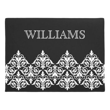 Black White Damask Personalized Doormat
