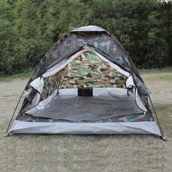 TOMSHOO 2 Person Camping Tent Beach Tent Single Layer Tent Portable Camouflage Polyester PU1000mm Camping Hiking Outdoor Tent