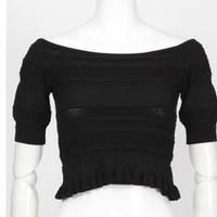 Fashion Boat Neck Short Off Shoulder Knit Shirt