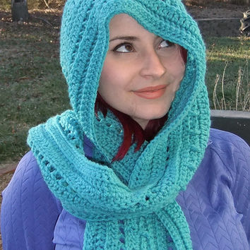 Crochet Scoodie , Accessories, Hood and Scarf Combo Scarf, Turquoise