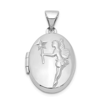 925 Sterling Silver Rhodium-Plated 17mm Oval Fairy Wishes Locket
