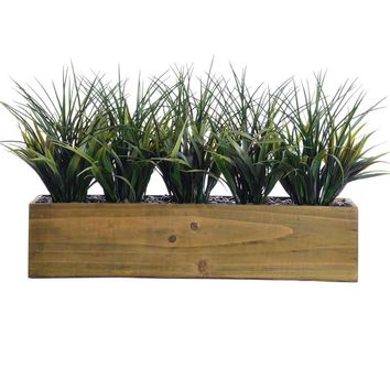 "12"" Tall Plastic Grass in Wooden Pot"