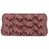 Silicone Dinosaur Style 12-Cup Mold,  Bear Lion Hippopotami Animal Cake Mold, 8 Hole Traffic Tools Shape Cake Ice Jelly Chocolate Molds