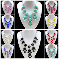 Hot Fashion Bubble Gold Chain Rhinestone Chunky Bib Style Statement Necklaces
