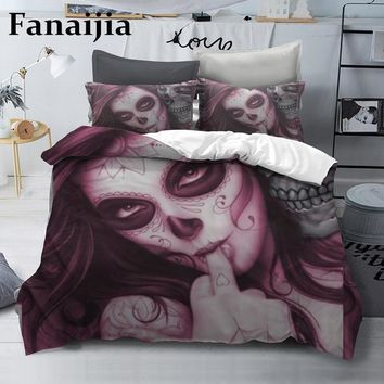 Cool Fanaijia Sugar skull Bedding Sets king beauty kiss Duvet Cover Bed Set Bohemian Print Black Bedclothes queen sizeAT_93_12