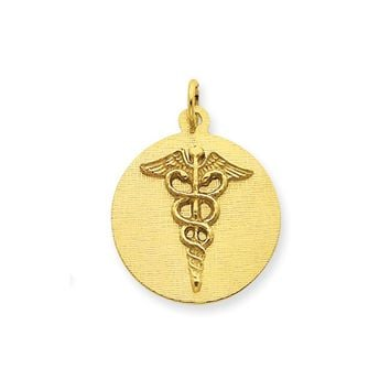 14k Yellow Gold 20mm Caduceus Disk Pendant