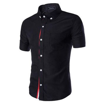 Men  Short Sleeve Shirts Casual Slim Fit Black Dress Shirts