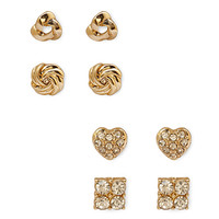 FOREVER 21 Rhinestone & Woven Stud Set Gold/Clear One