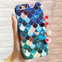 Lovely Blue Mermaid Fish Scale Hard Pc Protective Back Cover Case For Iphone 6 6s 7 Plus