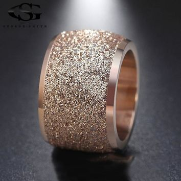 GS Silver/Rose Gold Color Stainless Steel Rings Frosting Surface Big Wedding Band Party Ring for Women Full Size Anillos