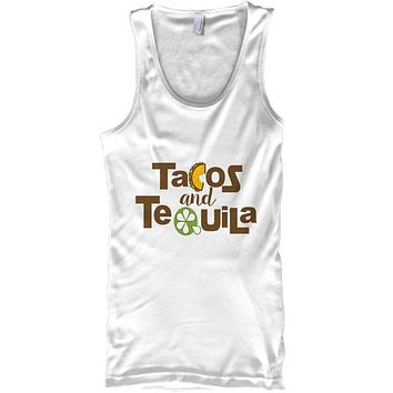 Tacos and Tequila Funny Drinking Lime Tank Top