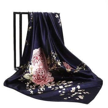 Navy Blue Hijab Shawl Scarf Women's Satin Fashion China Roses Flower Printed Female Square Scarves Head Wraps 2018 NEW 90x90cm