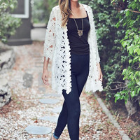 Fall Follies-Ivory Embroidered Kimono