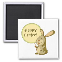 Mustard Green Bunny Holding Board Square Magnet