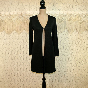 Long Cardigan Sweater Knit Duster Black Cardigan Sparkly Metallic Dressy Cardigan Jacket 80s Liz Claiborne Small Womens Vintage Clothing