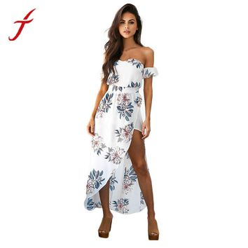 FEITONG Flower Printed Summer Dress Elegant Women Lady Strapless Boho Long Maxi Evening Party Beach Dress Floral Sundress