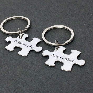 Adorkable Keychains Couples, Geek Gift, Geek Keychains, Puzzle Keychains, Couples Gift , Anniversary Gift