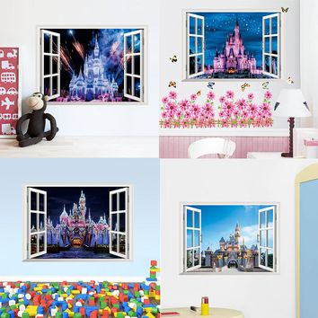 4 styles newest 3D window view Ancient Princess Castle home decals wall sticker for kids room girls bedroom mural poster