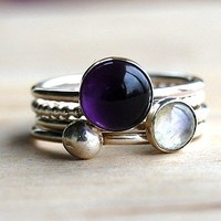 Amethyst And Moonstone Stacking Rings