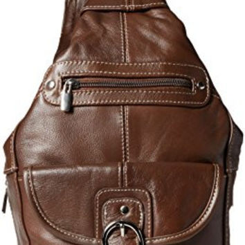Convertible Back Pack Purse, Mid Size Tear Drop Shoulder Bag, Backpack, Sling Bag. Genuine Leather (Dark Brown)