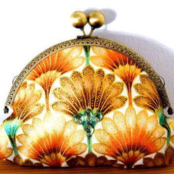 Iridescent/floral/tulip/metallic/gold/orange/turquoise/art nouveau/small clutch bag
