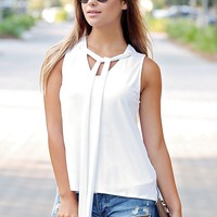 White PIKO High-Low Tie Neck Top
