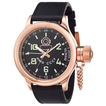 Invicta 7106 Men's Signature Russian Diver Black Dial Rose Gold Steel Black Strap GMT Watch