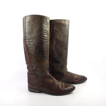 Bandolino Boots Vintage 1980s Olive Green Faux Alligator Women's size 8  M