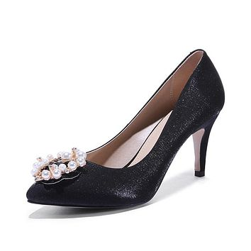 Pointed Toe Spring and Autumn High Heel Shallow Mouth Wedding Women Pumps Stiletto Heel Shoes