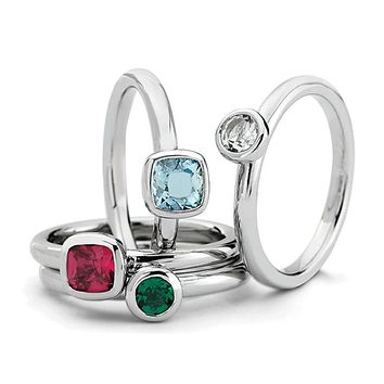 Sterling Silver Stackable Vibrant Gemstone Quartet Ring Set