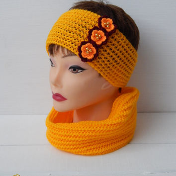 Knitted set! The dressing for the hair and the scarf.Knitted scarf for girls. Headband crochet for girls.