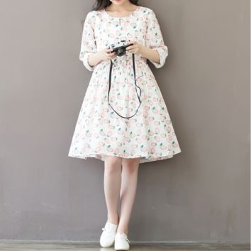 WOMEN 'S PEACH PRINT COTTON LONG SLEEVE DRESS