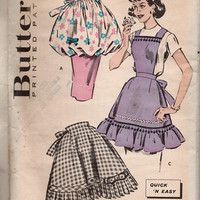 Butterick 8796 Sewing Pattern 50s Kitchen Apron Ruffle Hem Bubble Skirt Bib Apron One Size Uncut FF