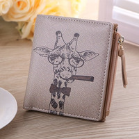 Wallet Women Vintage Cartoon Pattern PU Leather Coin Clip Purse Short Wallets Clutch Handbag bolsa CF
