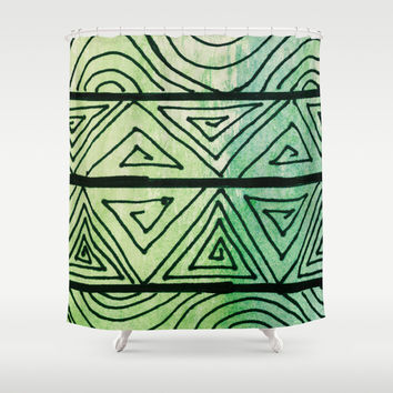 Zentangle Aztect Pattern Shower Curtain by Idle Amusement