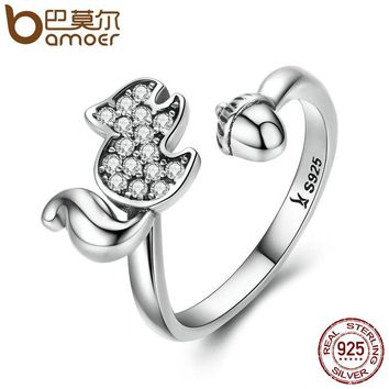 BAMOER 925 Sterling Silver Squirrels Nut Open Finger Ring Clear AAA Zircon Rings For Women Sterling Animal Jewelry SCR055
