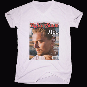 Leonardo DiCaprio  V-neck T-shirt Tee Unisex Shirt For men and women - Size XS S M L