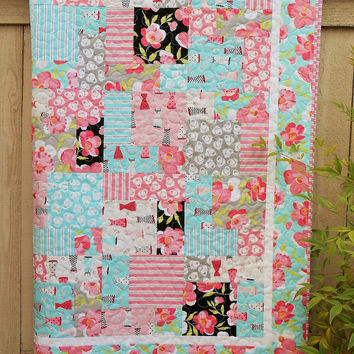 Quilt for Young Girl in Pink and Aqua with Flirty Dresses Purses and Flowers - Girls Bedding - Quilted Blanket for Girls - Fashionista Decor