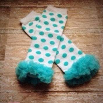 Teal and White Polka Dotted Leg Warmers