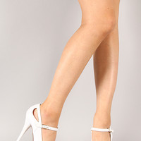 Qupid Neutral-02 Leatherette Mary Jane Stiletto Platform Pump