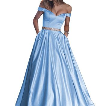 Women's Beaded Satin Off The Shoulder A Line Formal Prom Gown Pockets