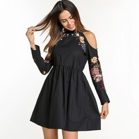 Embroidered Shoulder Cut Out Dress
