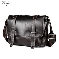 Vintage genuine leather messenger bag genuine leather shoulder bag Cow leather school bag for book ipad